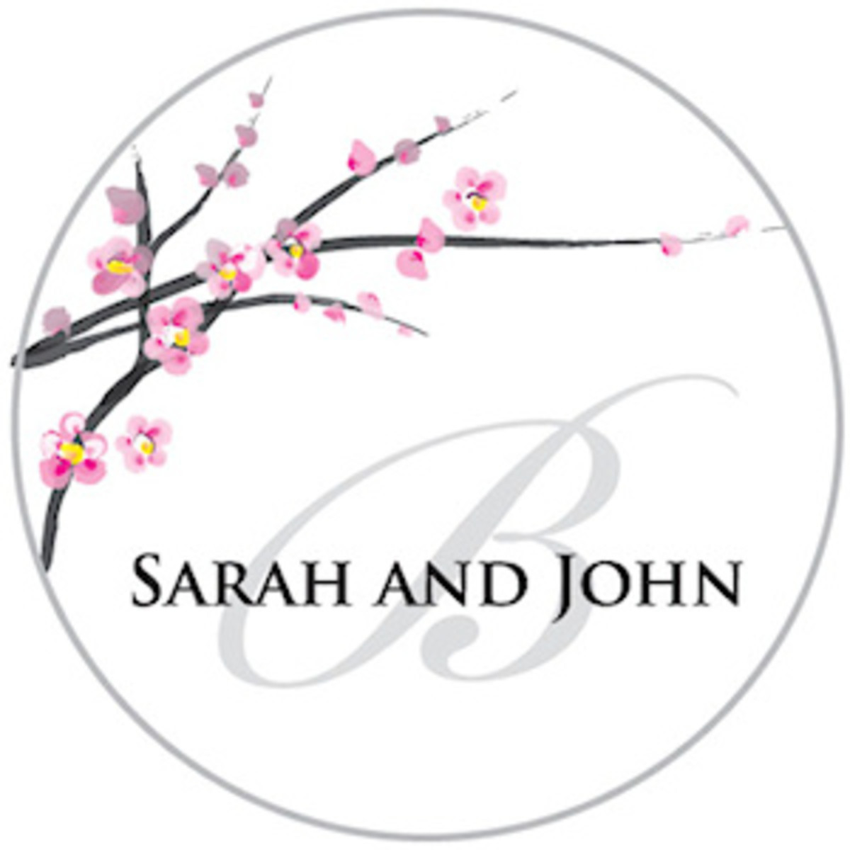 Personalized favor sticker or stationery seal.