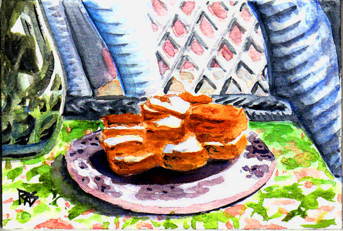 """A Plate of Cakes"" by Robert A. Sloan, watercolor on watercolor paper."