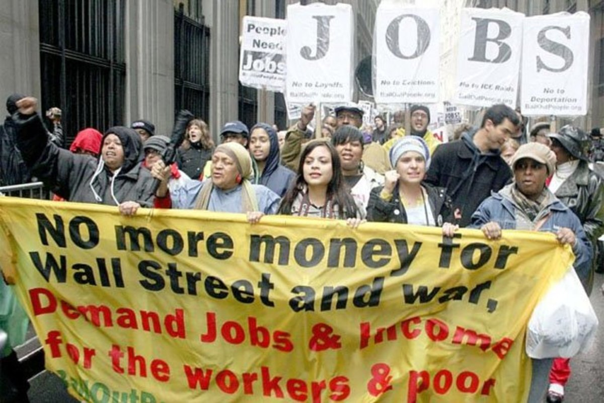 Occupiers demonstrating for Jobs, higher income for Workers and the Poor