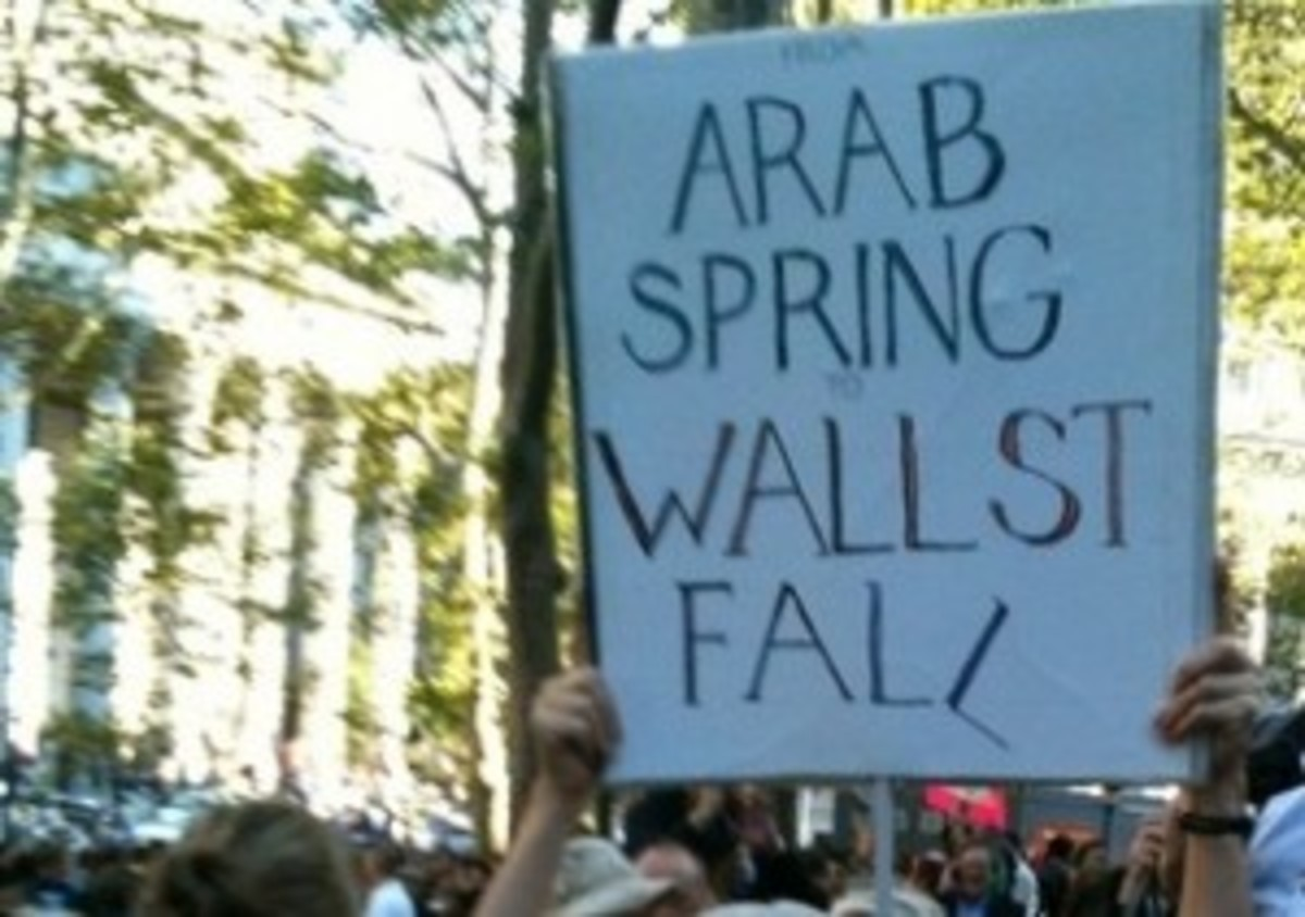 A placard, among the many, hoisted by the Wall Street Occupiers
