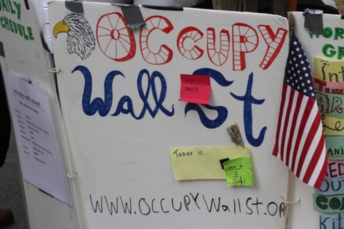 Some of the creative signs made and carried by the Wall Street Occupiers