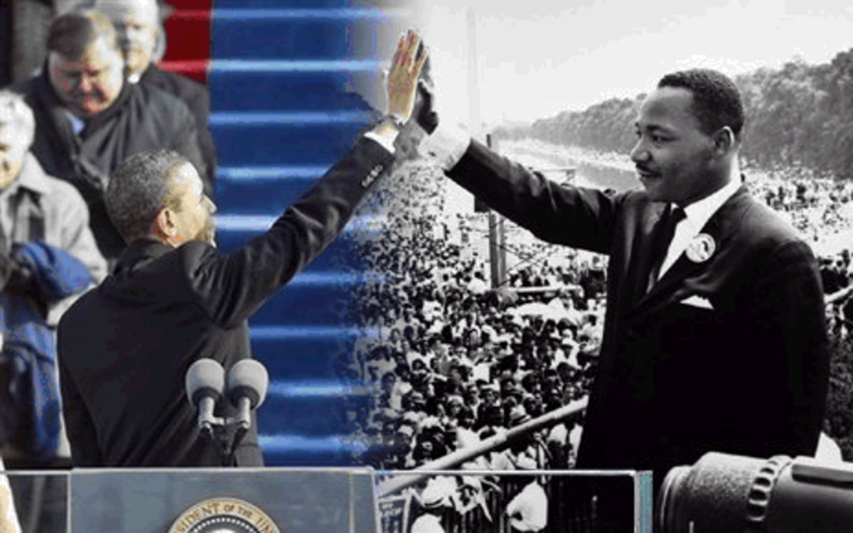 Obama and Martin Luter represented and spoke for the Poor, and this Image, is one way of showing the common struggles and issues they are both dealing with and the success they are seeing or achieved, is appropriate for this article