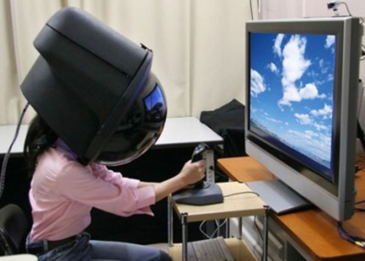 Virtual Reality - In this case you interact with real people, real teachers, real content... with real results. The word virtual is used to describe something that is almost a thing but not quite the thing- Virtual Reality Helmet
