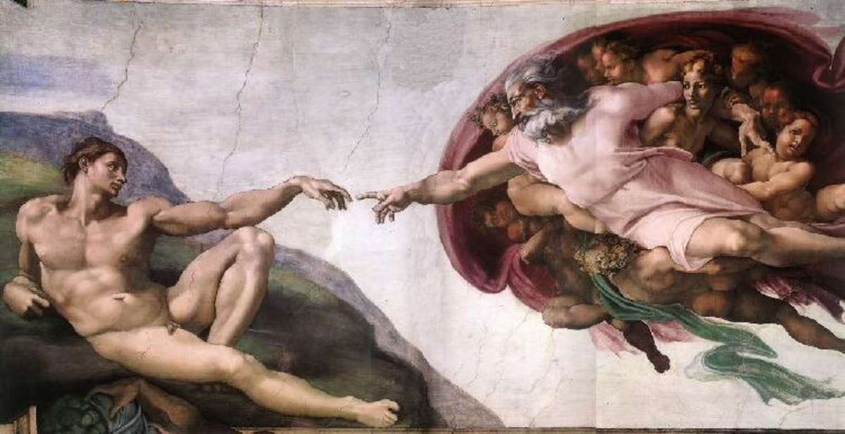 """""""CREATION OF ADAM"""" BY MICHELANGELO ON THE CEILING OF THE SISTINE CHAPEL"""