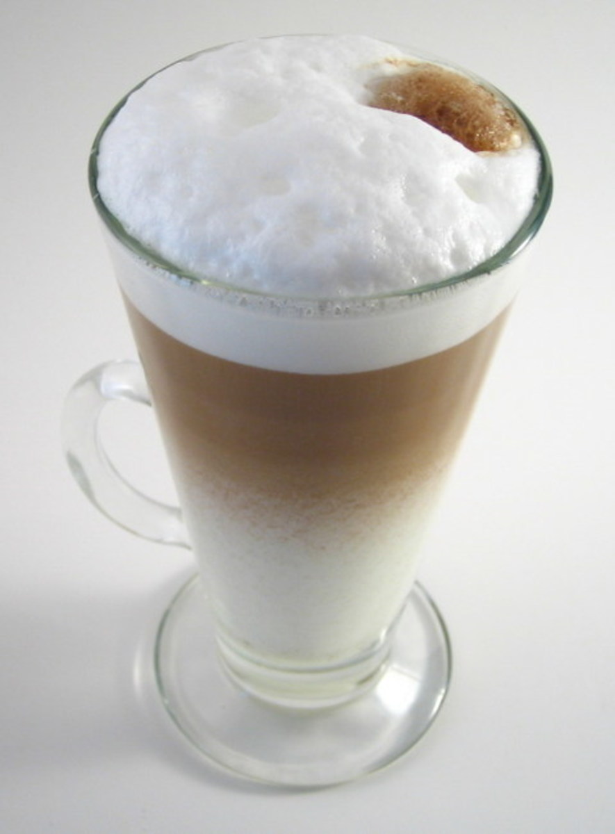 A layered latte is a step up from a mixed latte, simply pour the coffee carefully into the hot milk.