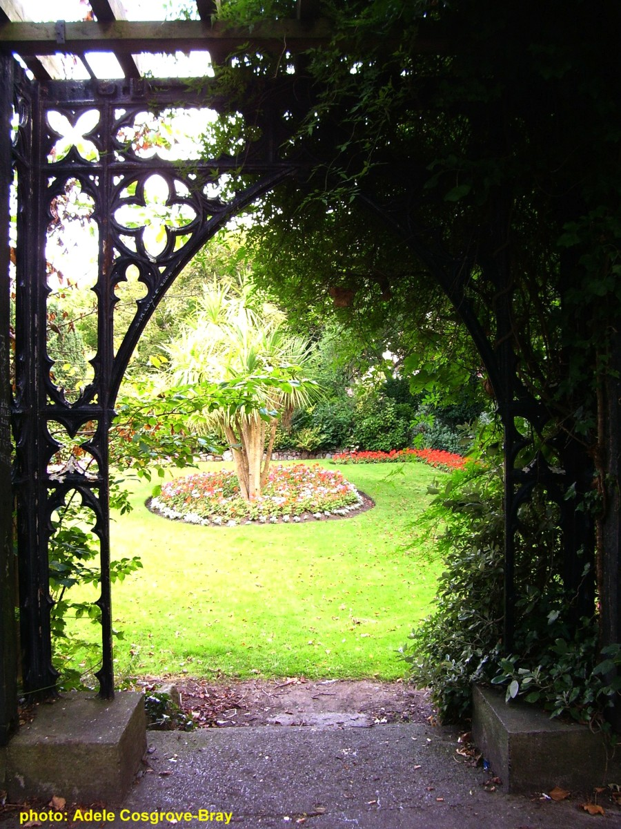 Elegant iron gazebo overlooking the formal gardens.