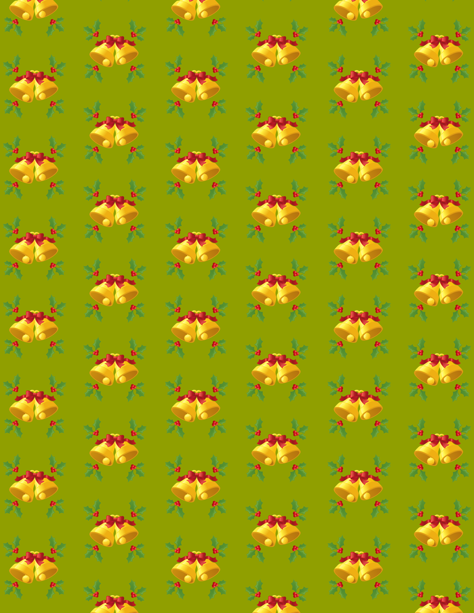 Free bells and holly Christmas scrapbook paper -- green background