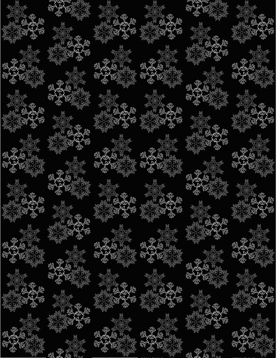 Falling snowflakes winter scrapbook paper -- black background