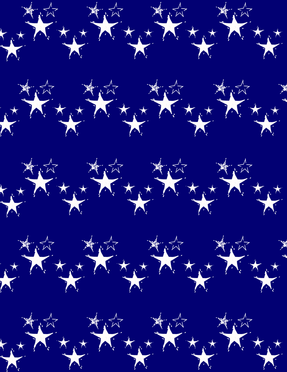 white stars Christmas scrapbook paper -- blue background