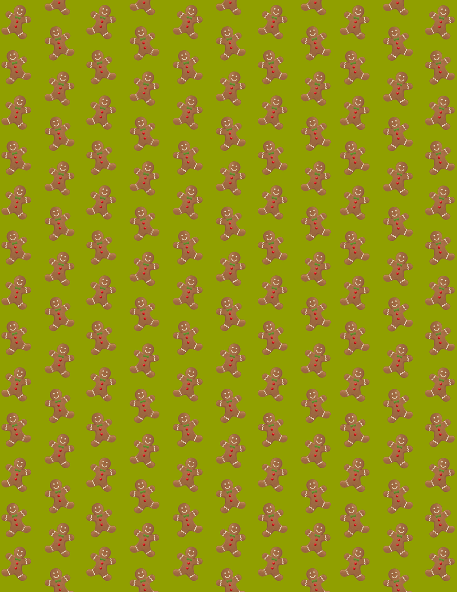 Free gingerbread men Christmas scrapbook paper -- green background