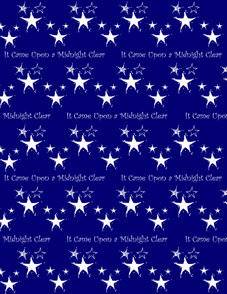 """It Came Upon a Midnight Clear"" white stars Christmas scrapbook paper -- blue background"