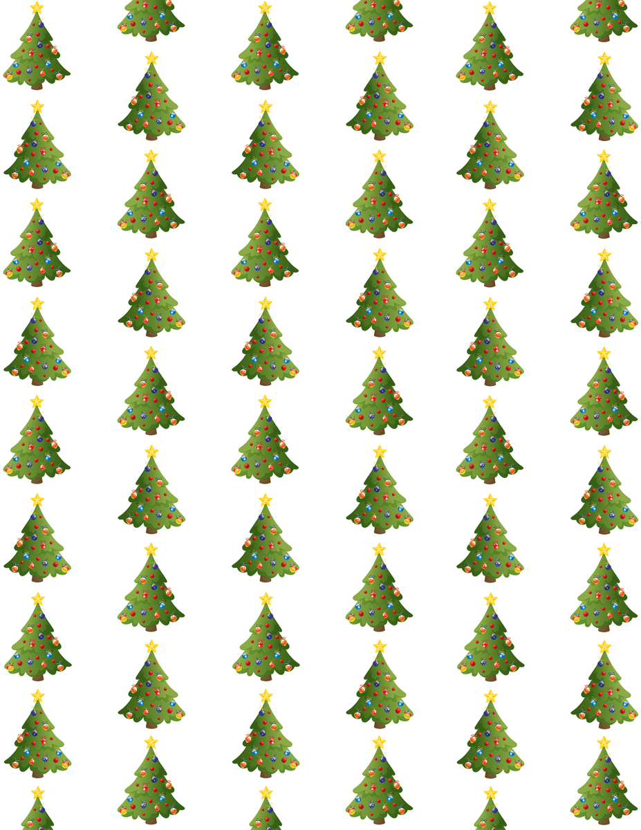 Christmas tree scrapbook paper -- white background