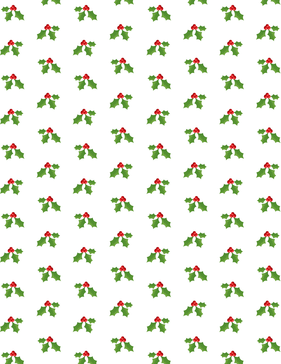 Free holly Christmas scrapbook paper -- white background