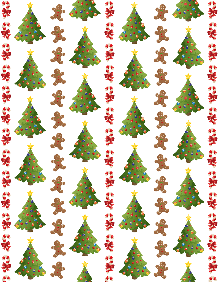 Christmas trees, gingerbread men and candy cane Christmas scrapbook paper -- white background