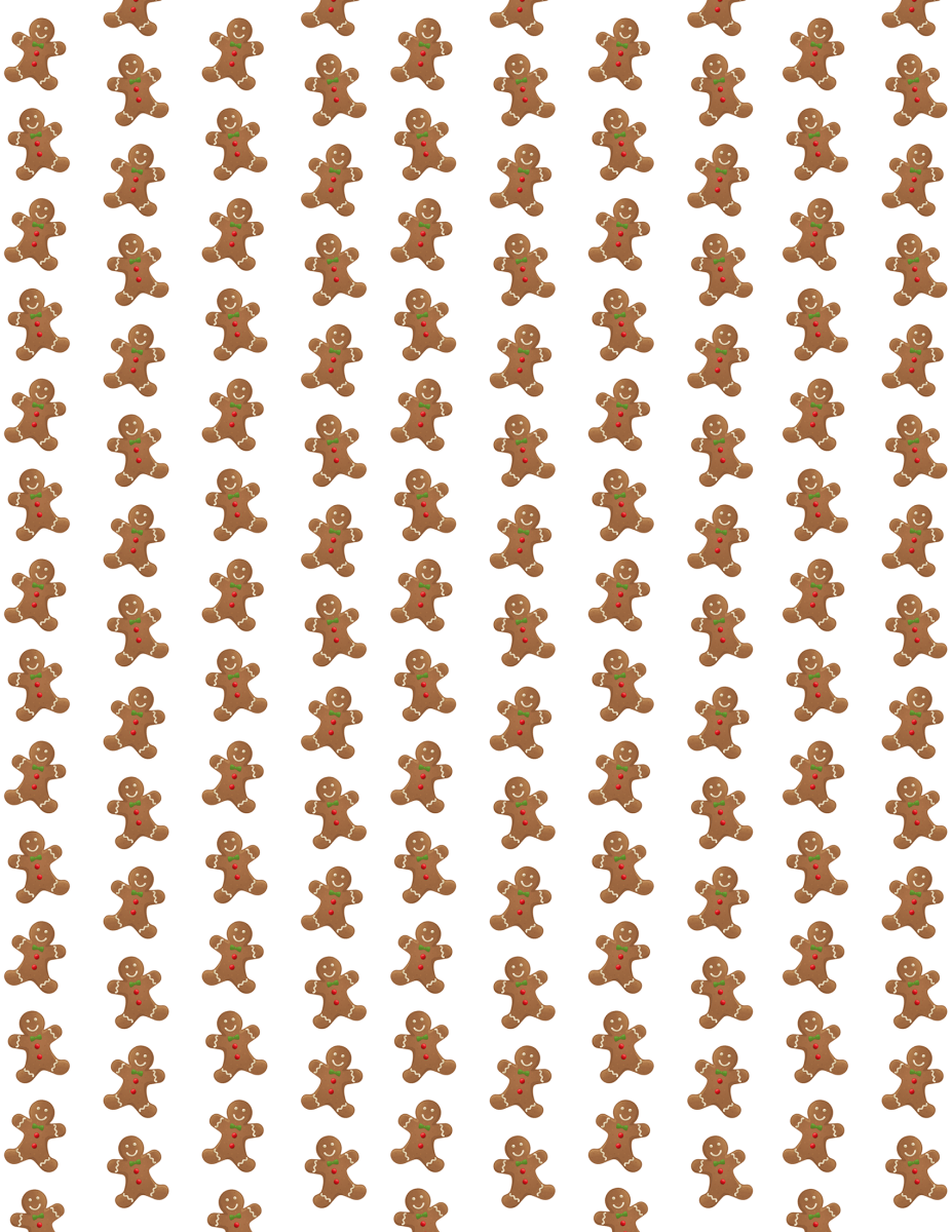 Gingerbread men Christmas scrapbook paper -- white background
