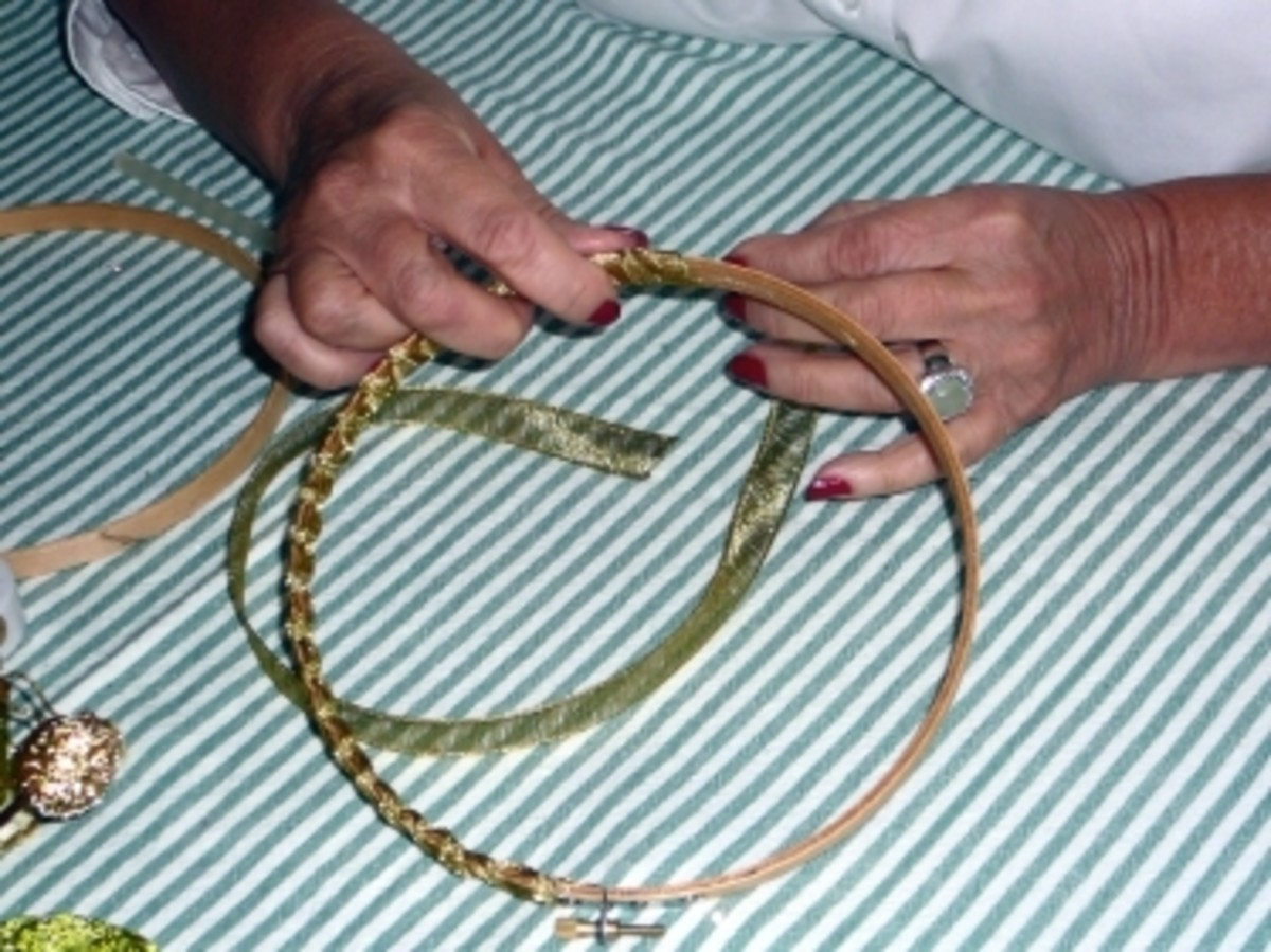Step 2 : Then  wrap ribbon around embroidery hoop. Repeat wrapping of ribbon on second hoop.