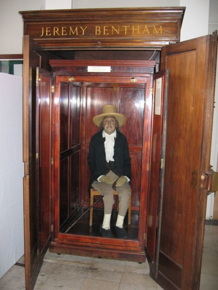 Bentham's body, stuffed and embalmed, in a hallway of University College London