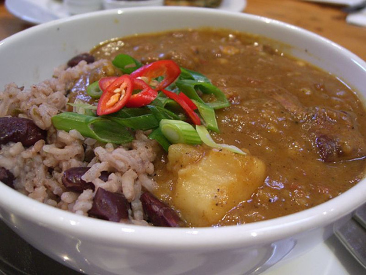 Curried Goat with Rice and Beans