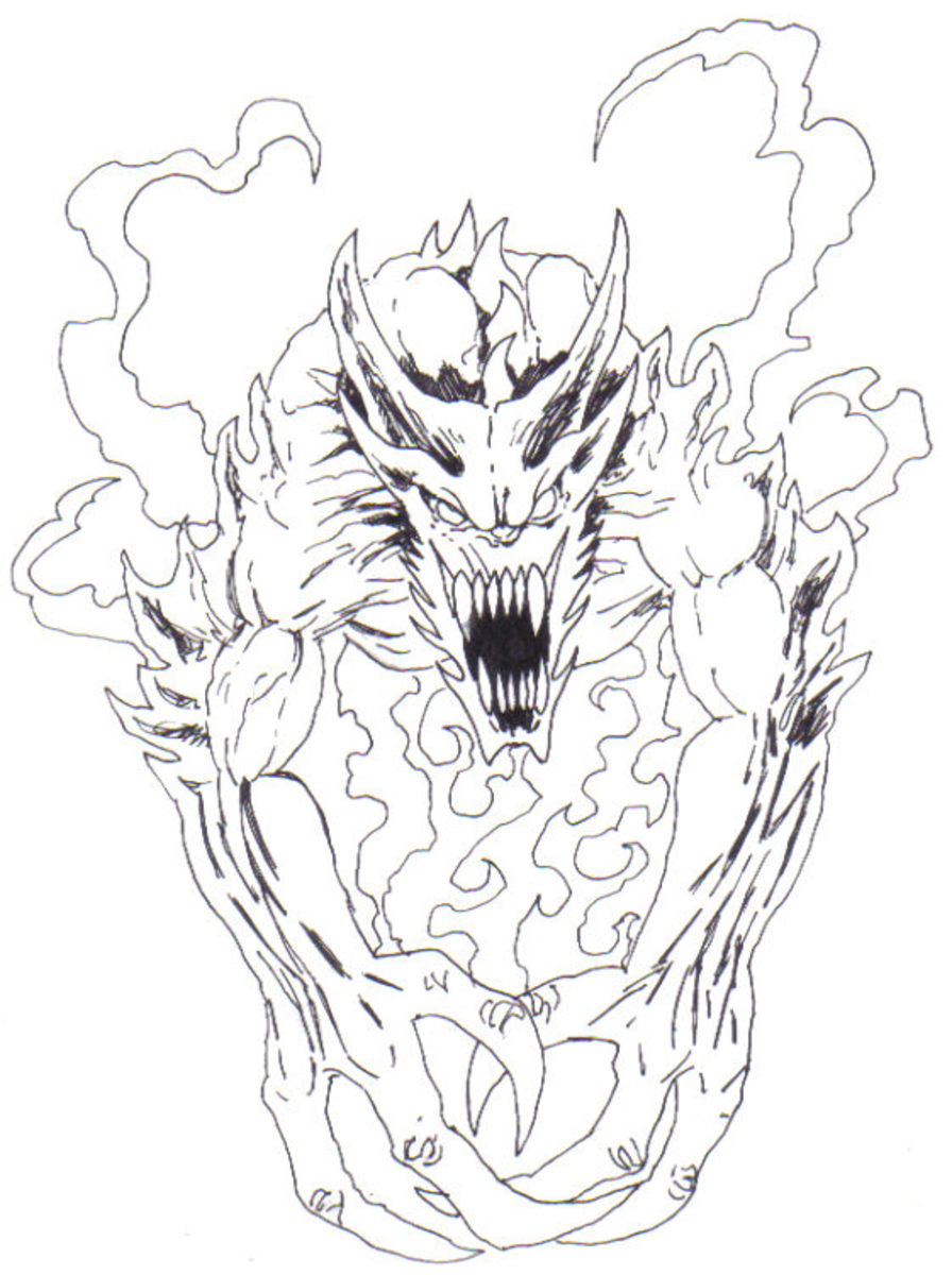The Demon looks solid and evil when inked and the pencil lines are erased. Art Copyright Wayne Tully 2009.