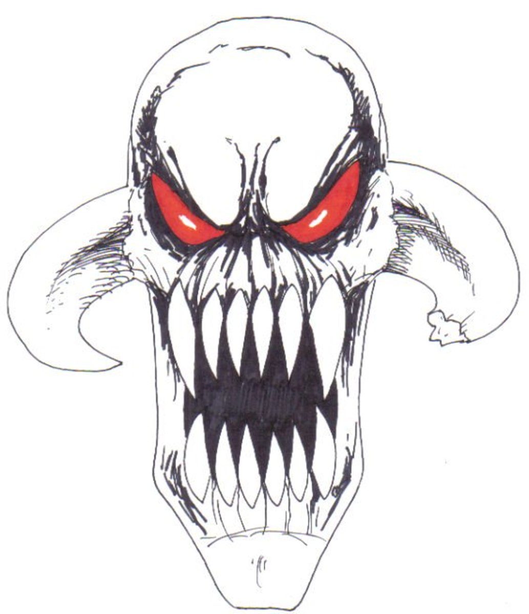 How To Draw A Demon - Unfinished Demon Art is Copyright Wayne Tully 2009.