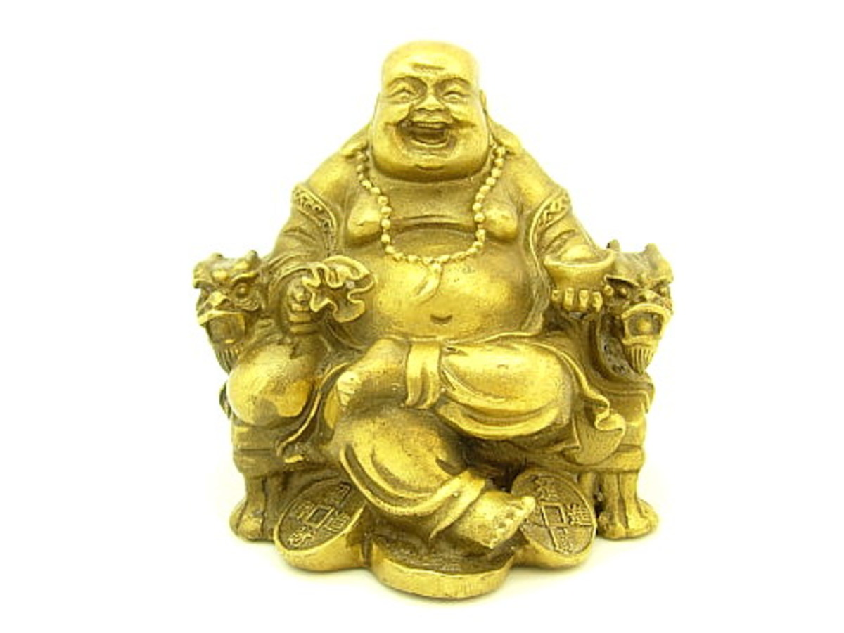 Laughing Buddha Feng Shui Symbol with money bag is one of the most auspicious symbols and is said to bring wealth,happiness and success.