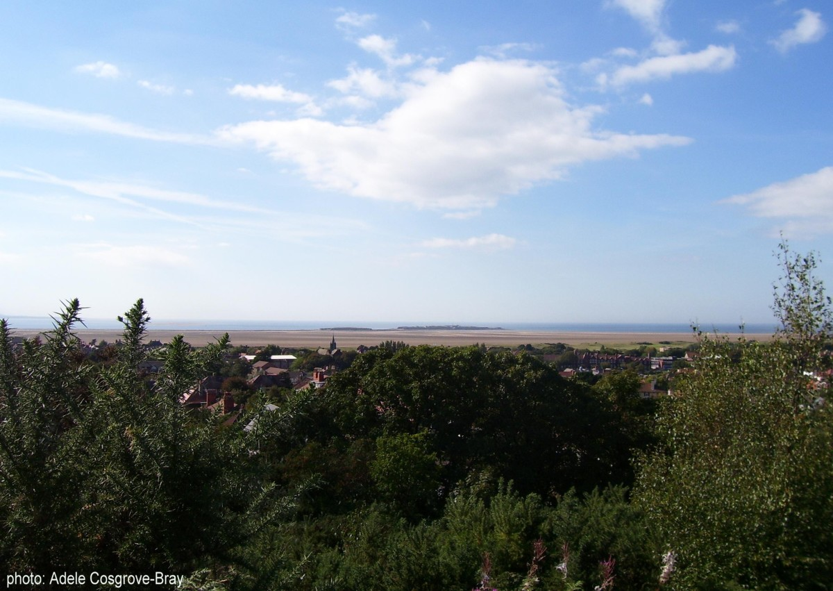 Looking from the top of Grange Hill over West Kirby village to the beach.  Middle Eye and Hilbre Islands are on the horizon.