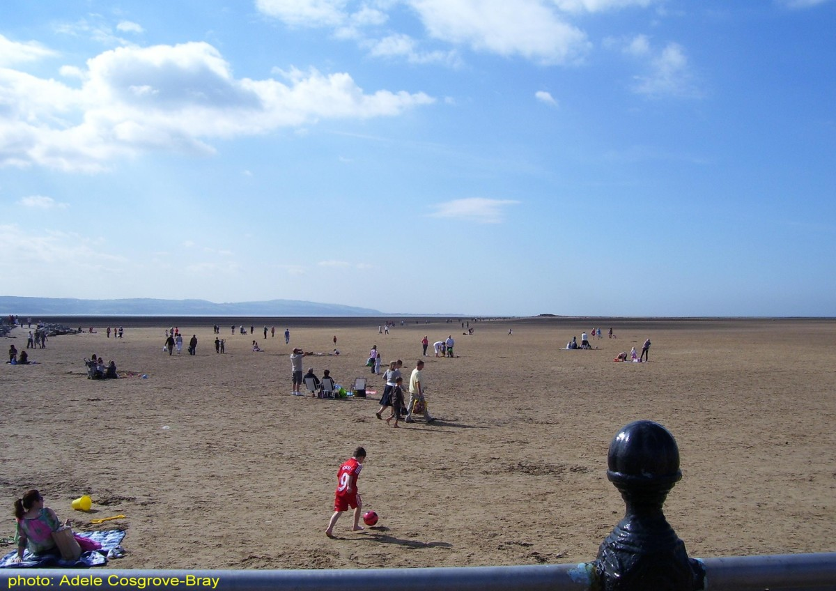 West Kirby beach, with the Welsh hills and Little Eye on the horizon.