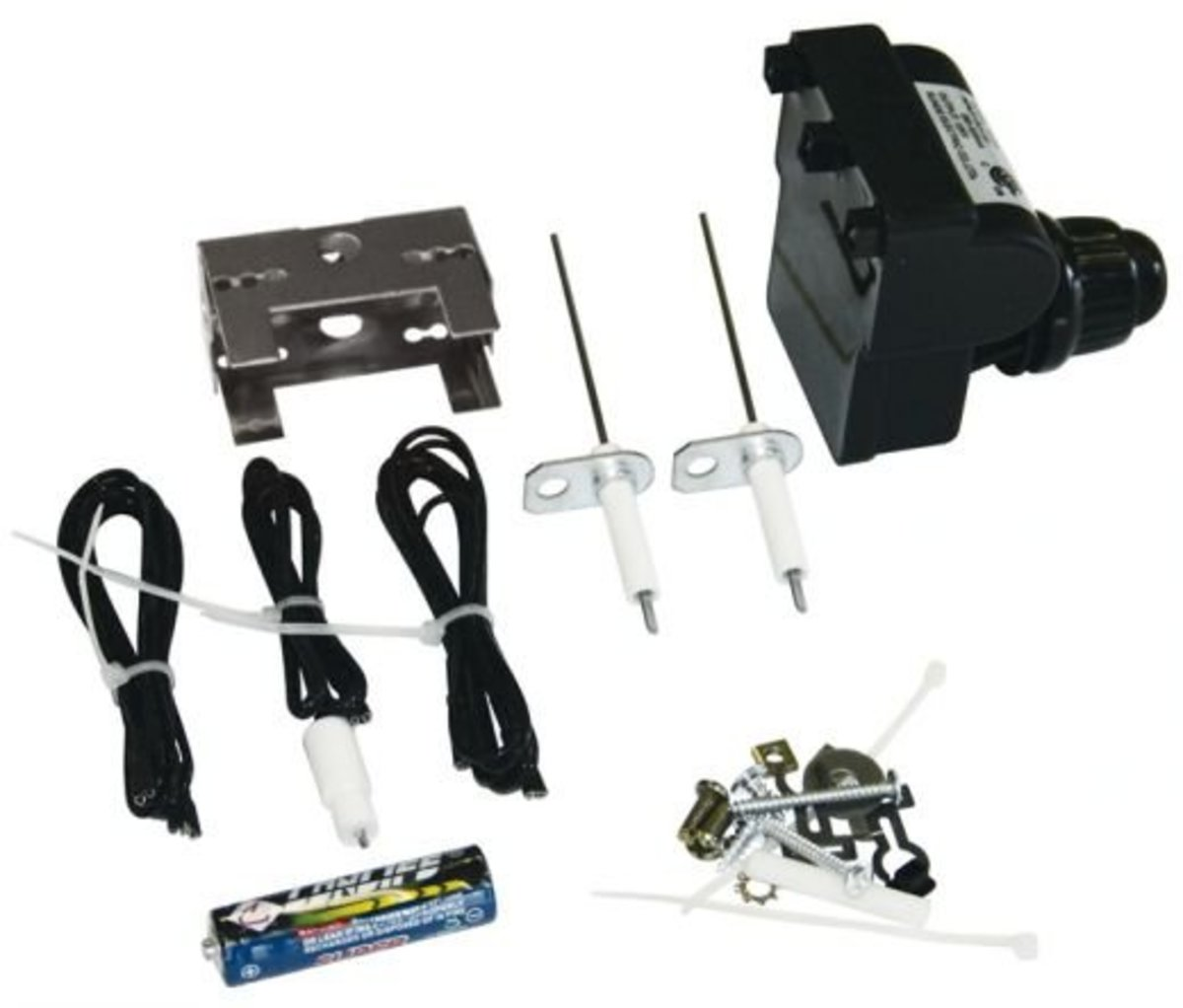 A universal bbq grill ignitor kit contains a battery module, electrode, and wires to start any barbeque and replace the ignitor.