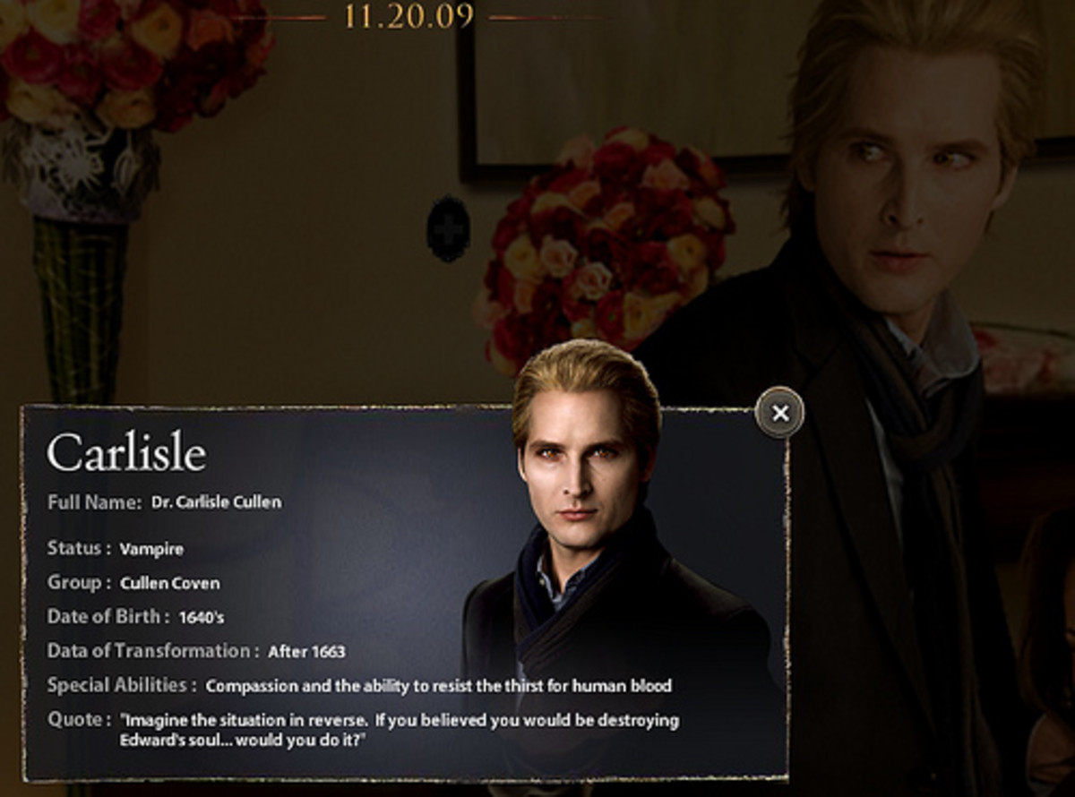 "is Esme's husband and Edward, Rosalie, Emmett, Alice, and Jaspers adoptive dad/creator. His physical age is 23 and he's 6'2"" and looks like a blonde model. Carlisle theorizes that when a human is turned into a vampire, they will have an enhanced abil"