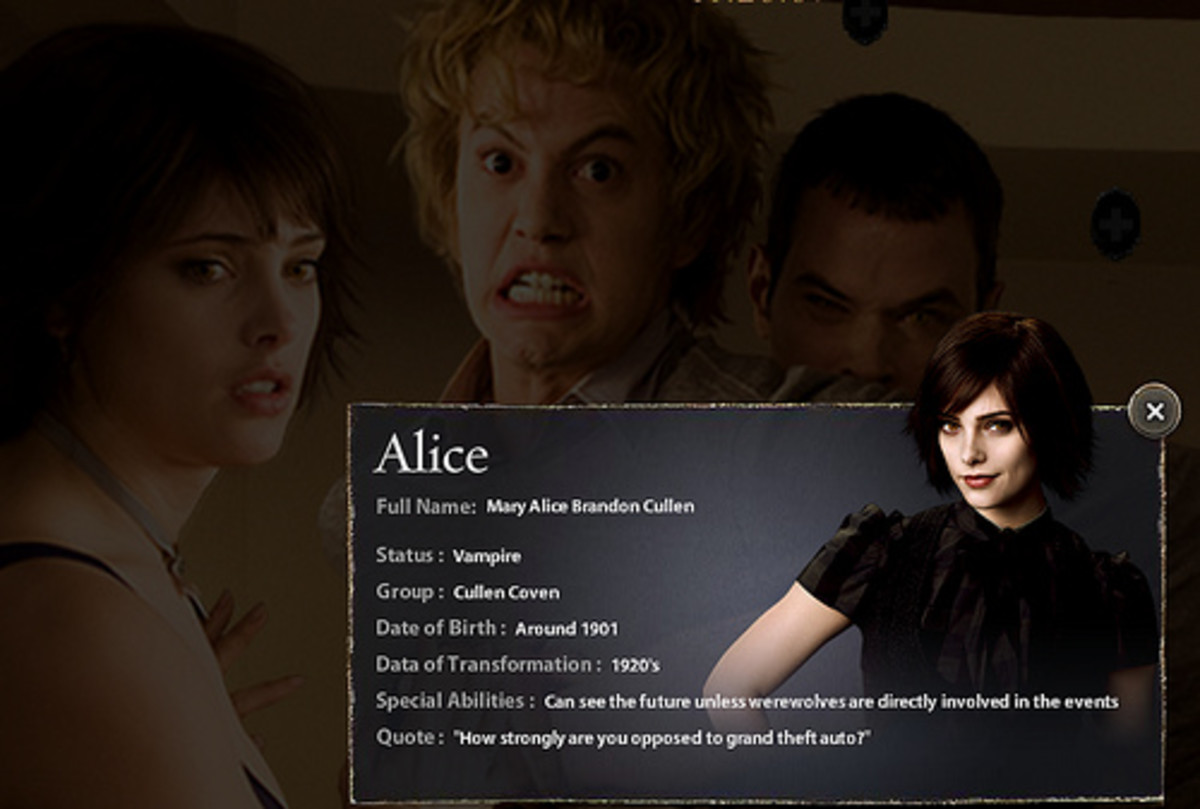"is the adopted daughter of Carlisle and Esme Cullen, adoptive sister of Edward, Rosalie, and Emmett, and wife of Jasper. Alice is described as being petite and pixie-like at 4'10"" with a graceful gait and hair that is short, spiky, and black. Her spe"