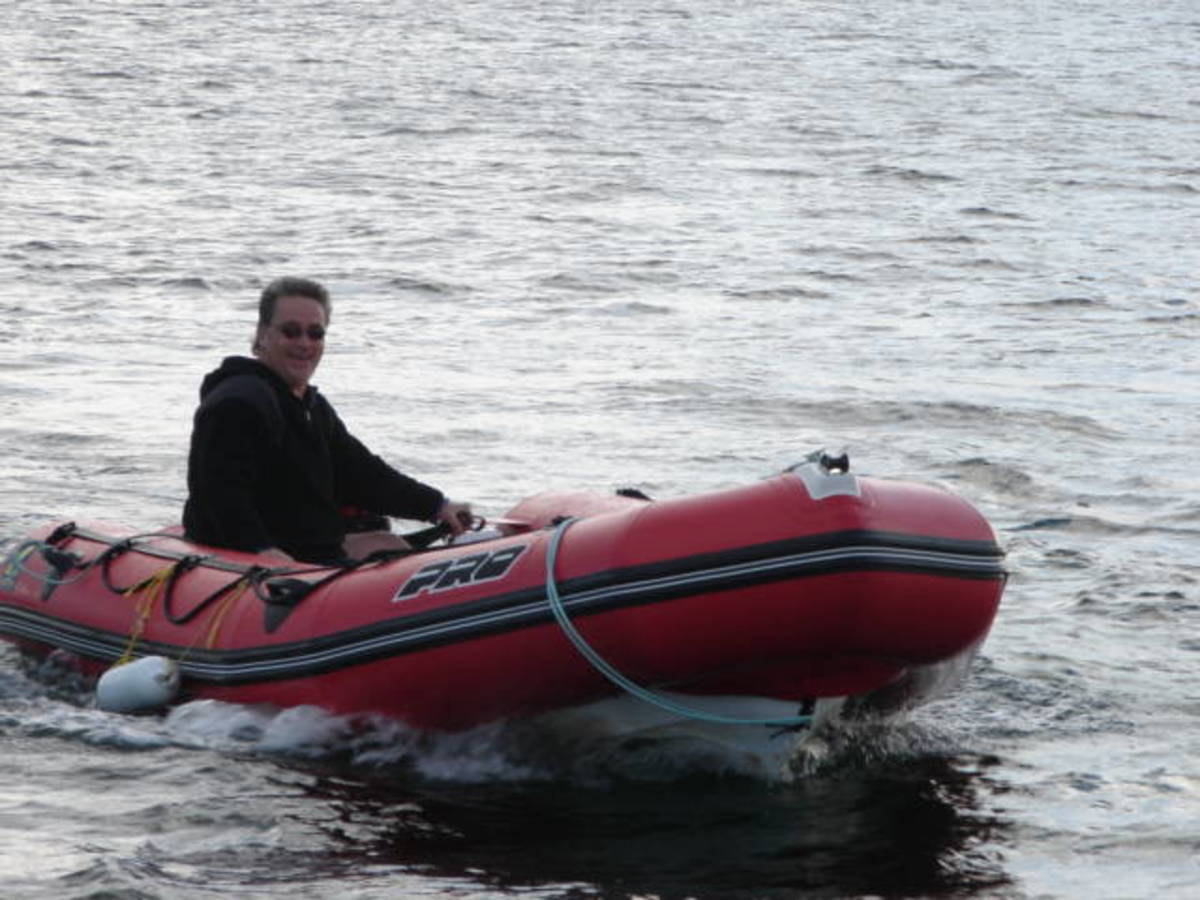 Playing with the zodiac in Aspe Bay, Dingwall, Nova Scotia