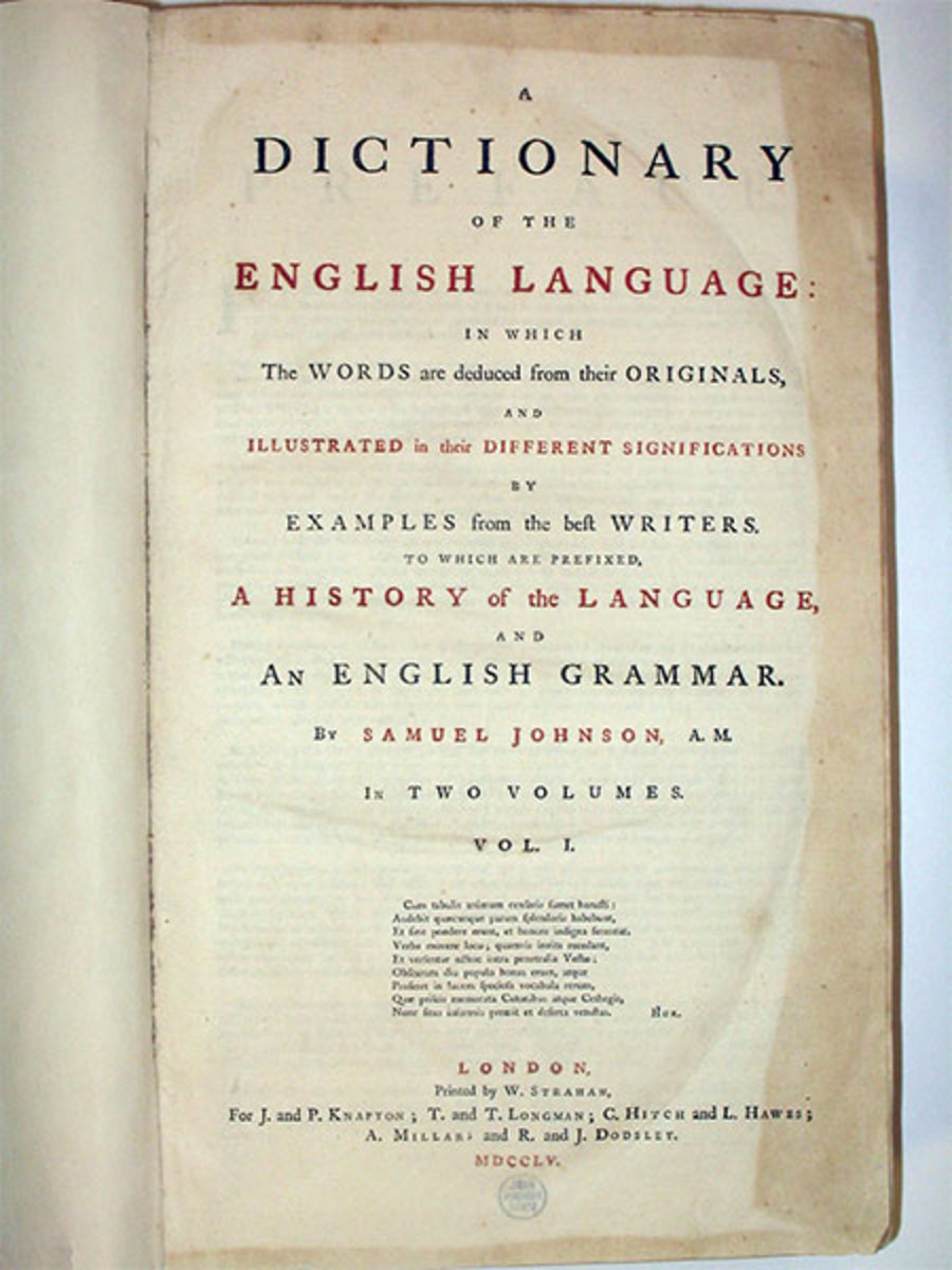 """DICTIONARY OF THE ENGLISH LANGUAGE"" BY SAMUEL JOHNSON IN 1755"