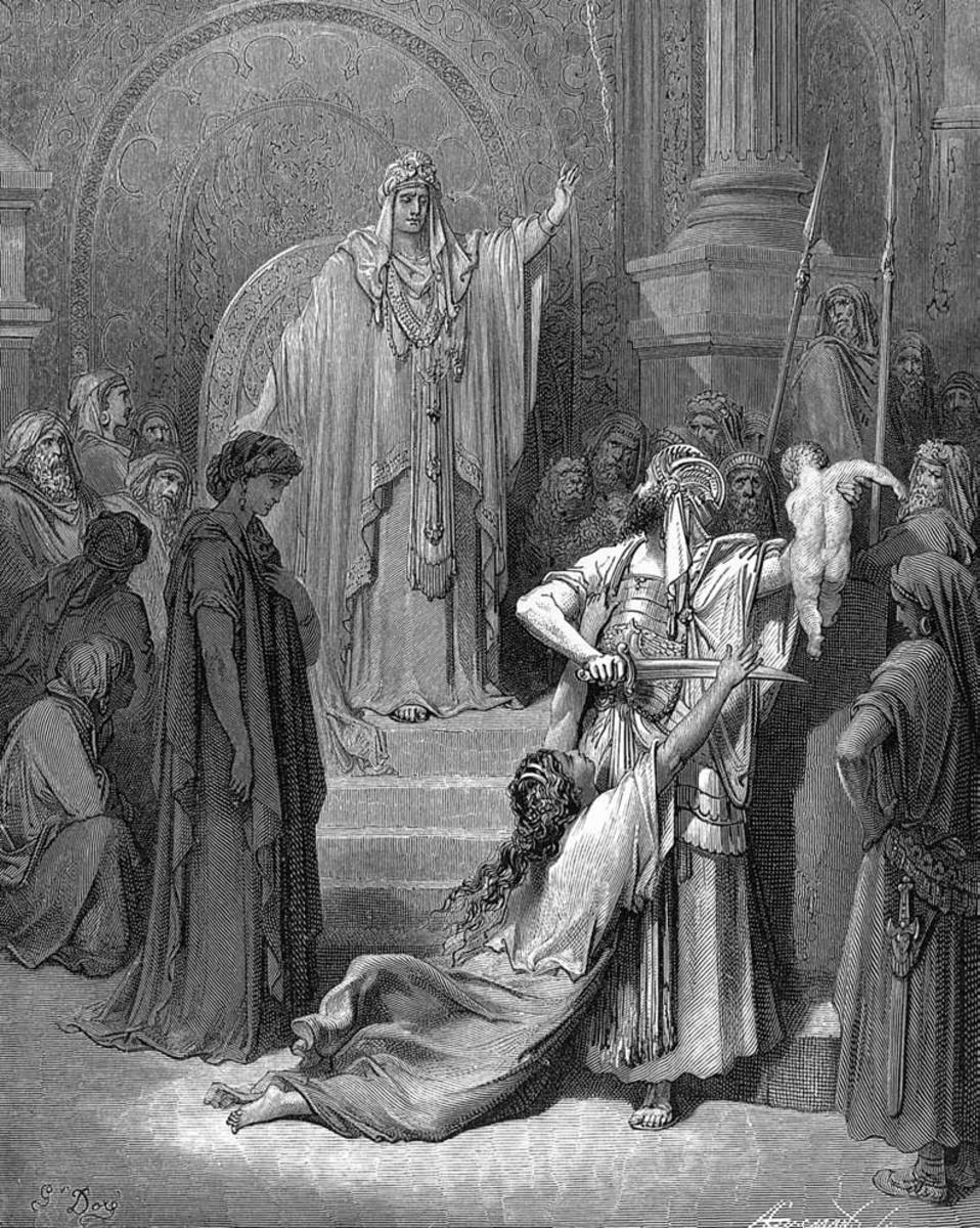 """JUDGMENT OF KING SOLOMON"" ENGRAVING FROM 1858 BY GUSTAVE DORE'"