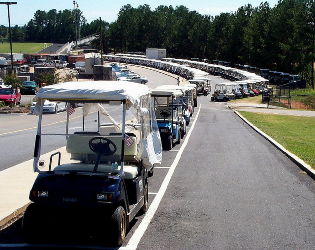 Golf cart parking at McIntosh High School.