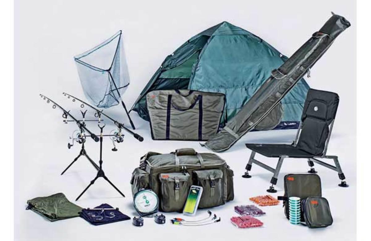 A typical set up of basic Carp fishing equipment