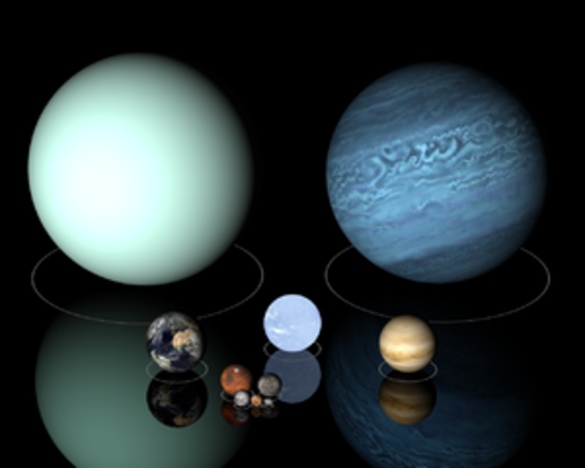 Top Row: Uranus and Neptune; Center Row: Earth, White Dwarf Star, Sirius B and Venus; Bottom row: Mars and Mercury; Last Row: Moon, dwarf planets Pluto and Haumea. Click on Picture gallery for a much more closer look.