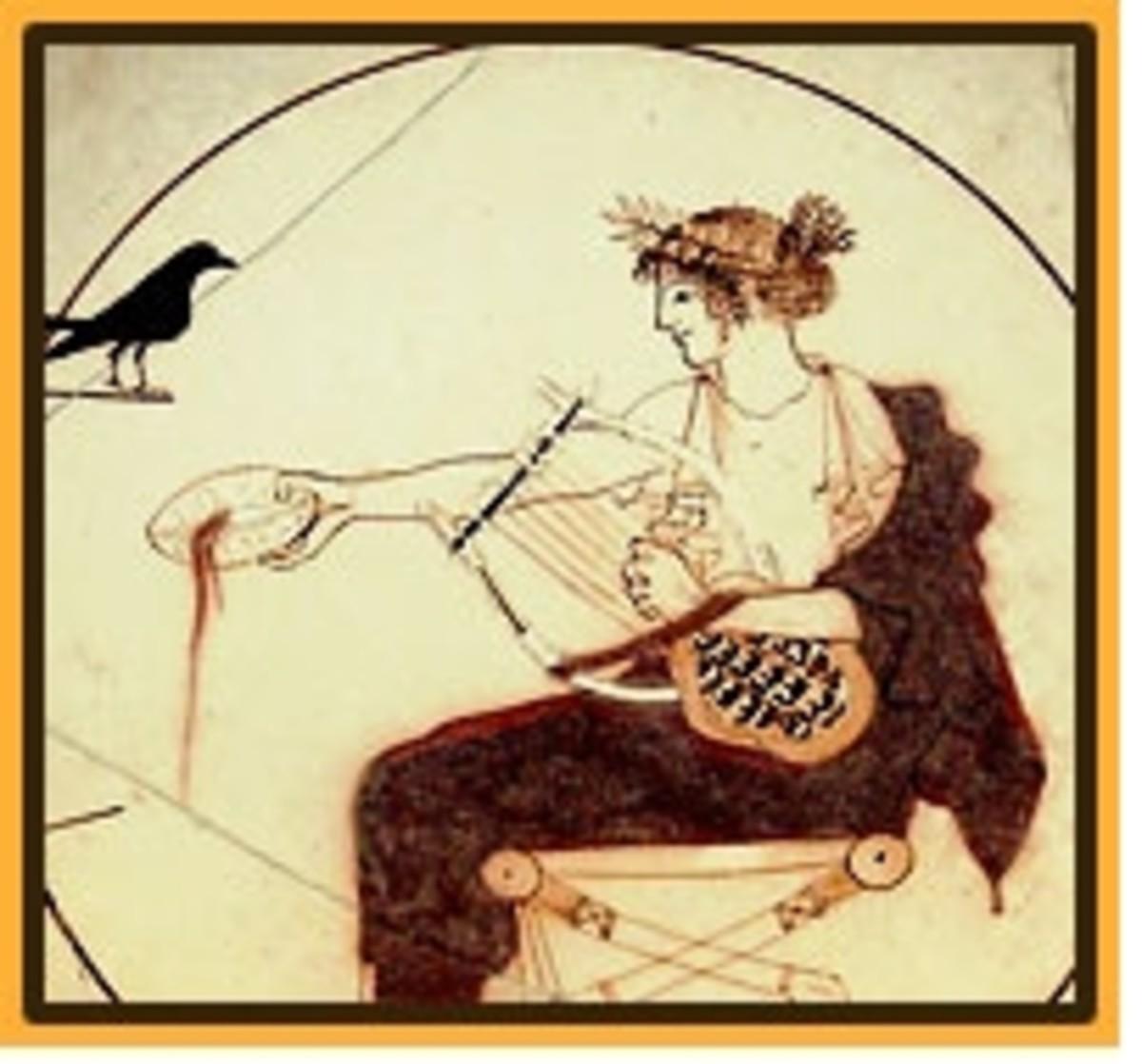 Greek god Apollo on vase found at his sanctuary in Delphi (own photo)