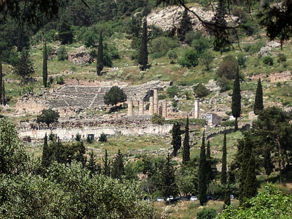 Distant view of the Sanctuary of Apollo at Delphi