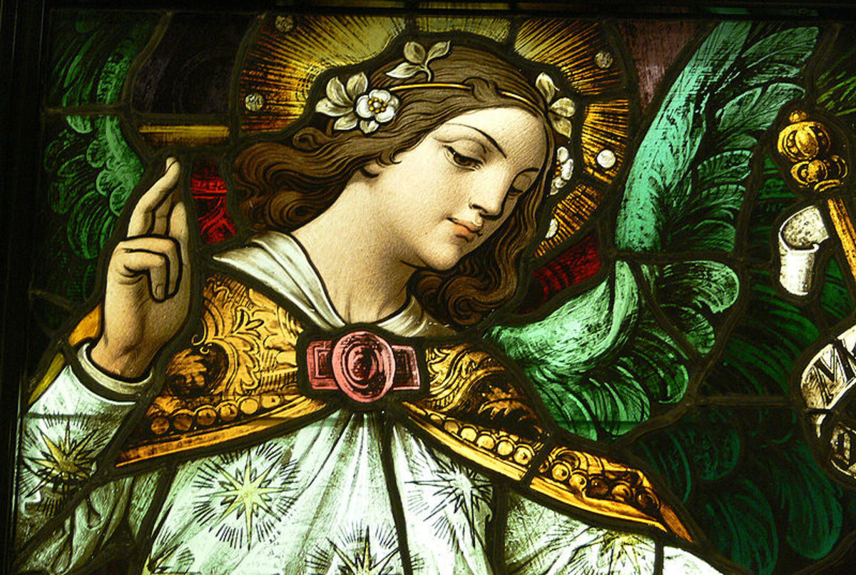 Detail from the stained glass window in LA's Catholic Cathedral. Image courtesy of Wiki Commons