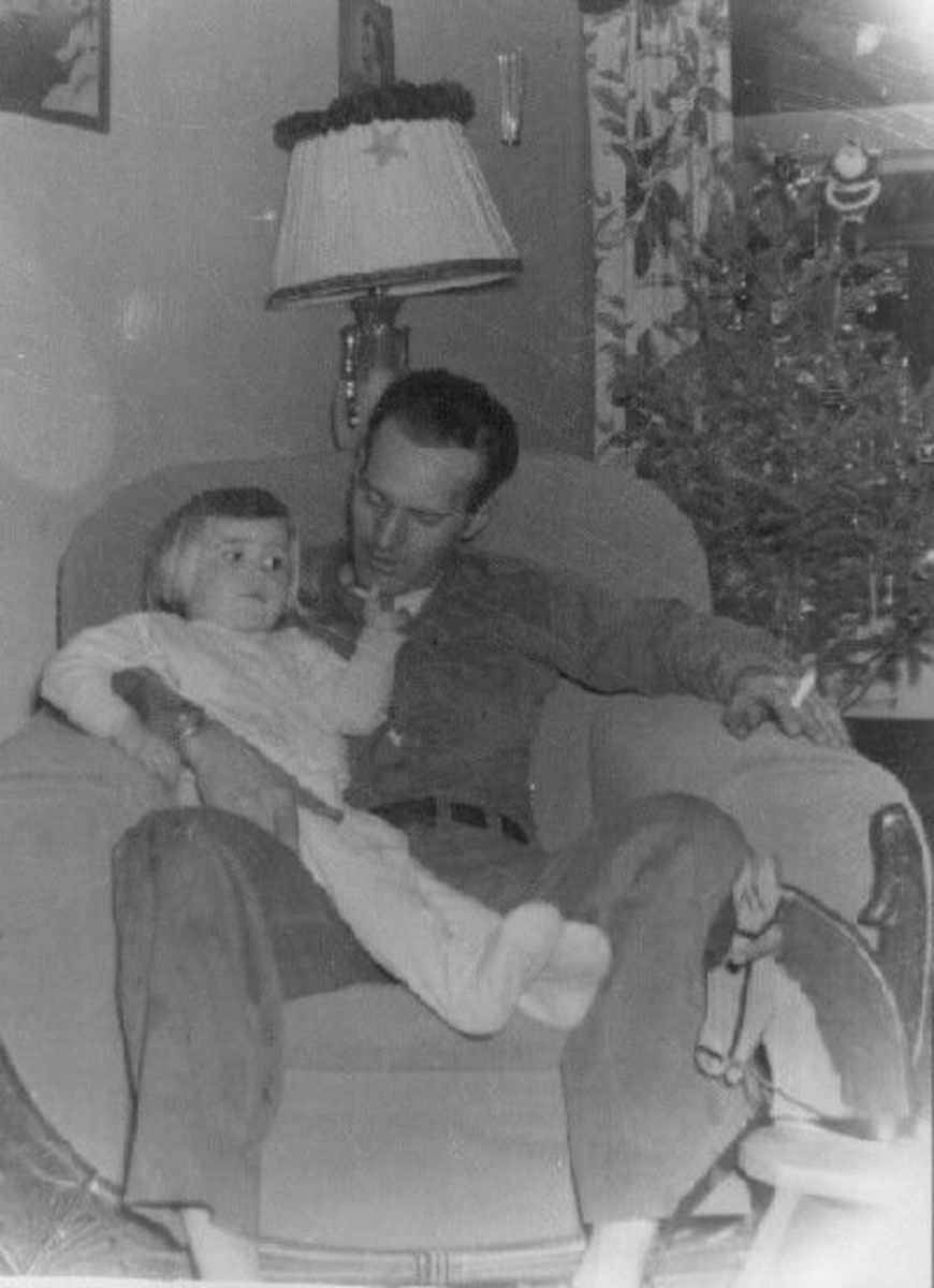 We didn't have a lot of money back in the 1950s. There was a recession going on. Dad cut a Christmas tree in the woods and also made some gifts like the rocking horse in the picture. One year he was hospitalized and out of work after a car accident.
