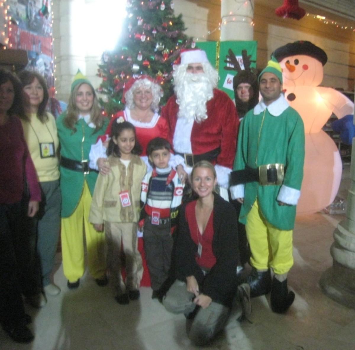 Father Christmas visits the hospital