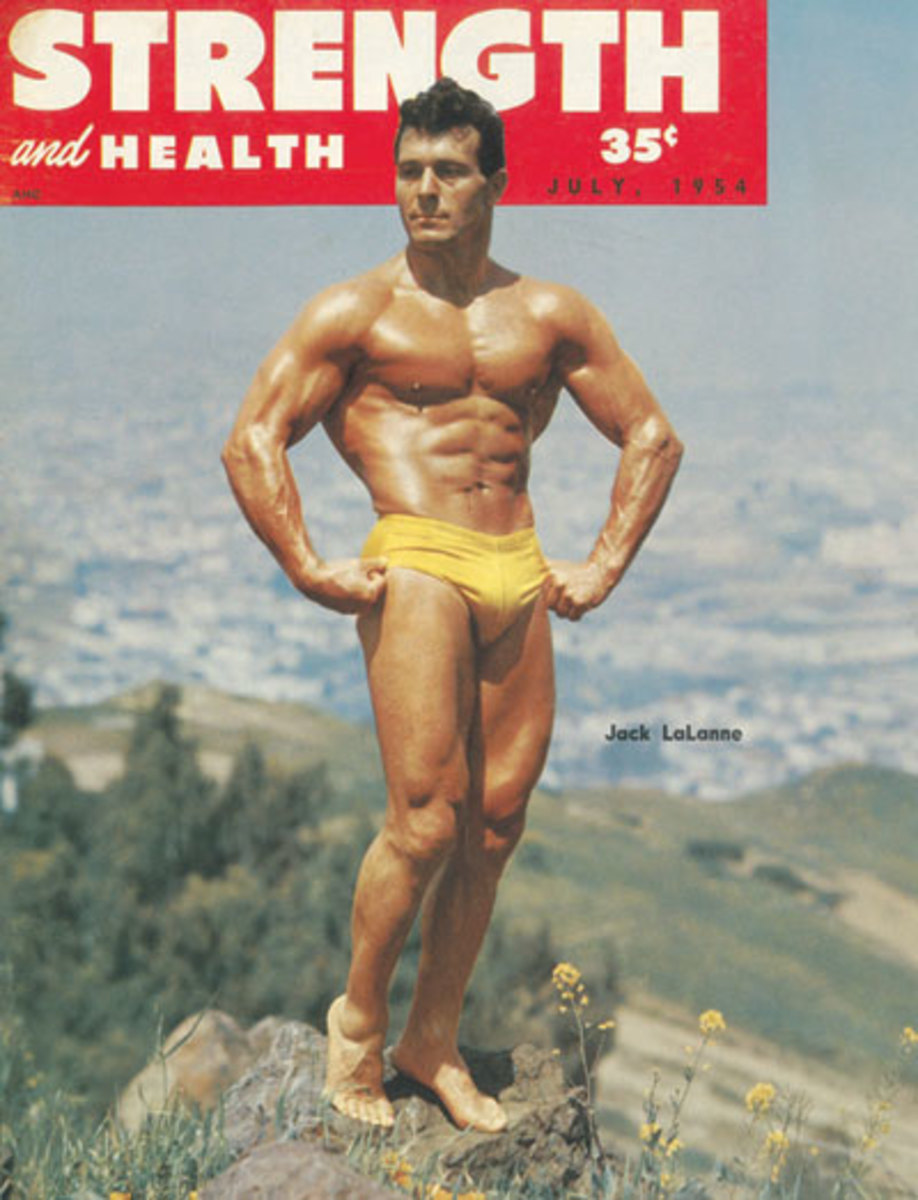 Strength and Health a vintage Fitness Magazine Cover with muscle man pose by Lack LaLanne