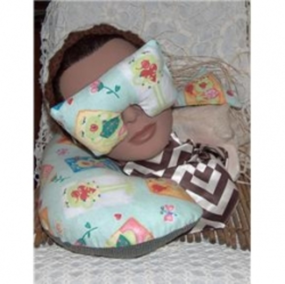 Hand-sewn eye mask; washable eye mask liner; neck pillow; and sachet luxury relaxation or travel set