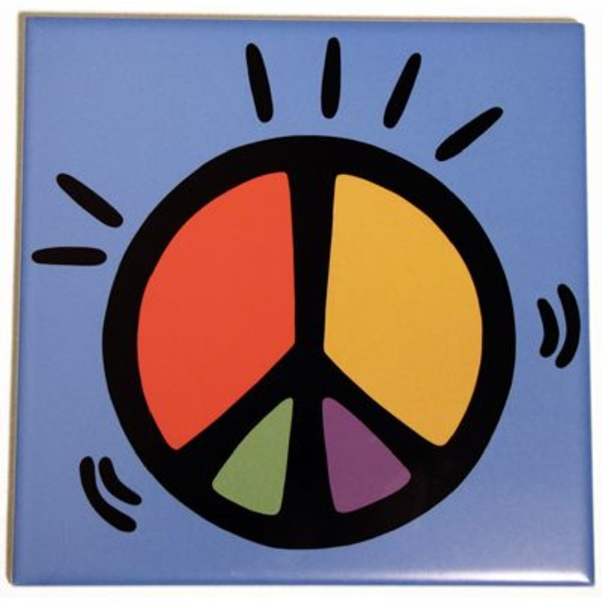"Peace Sign Ceramic Wine Bottle Trivet (6"" x 6"")"