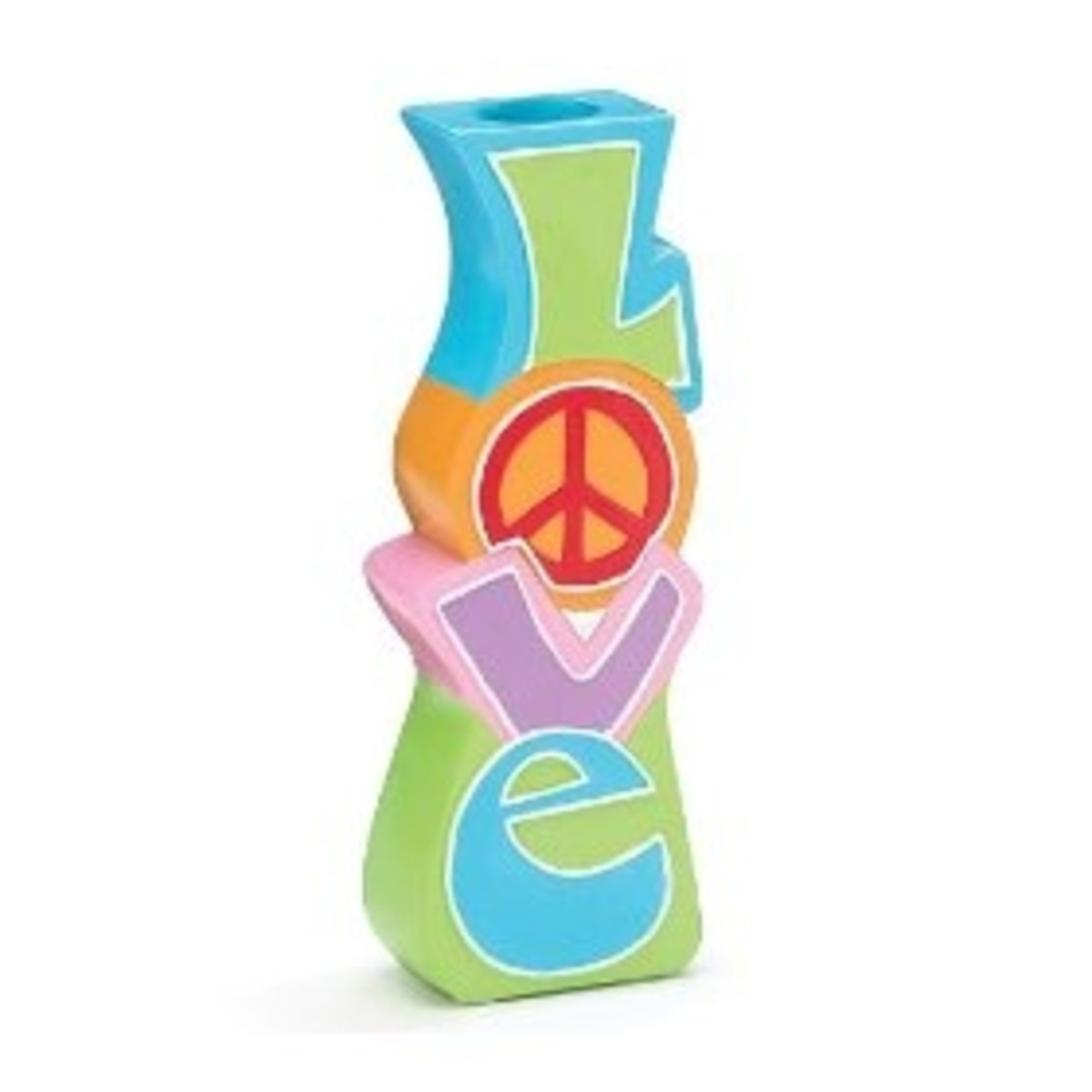 Retro 60's Style Hippie Love & Peace Vase featuring Multi-colored Peace Signs
