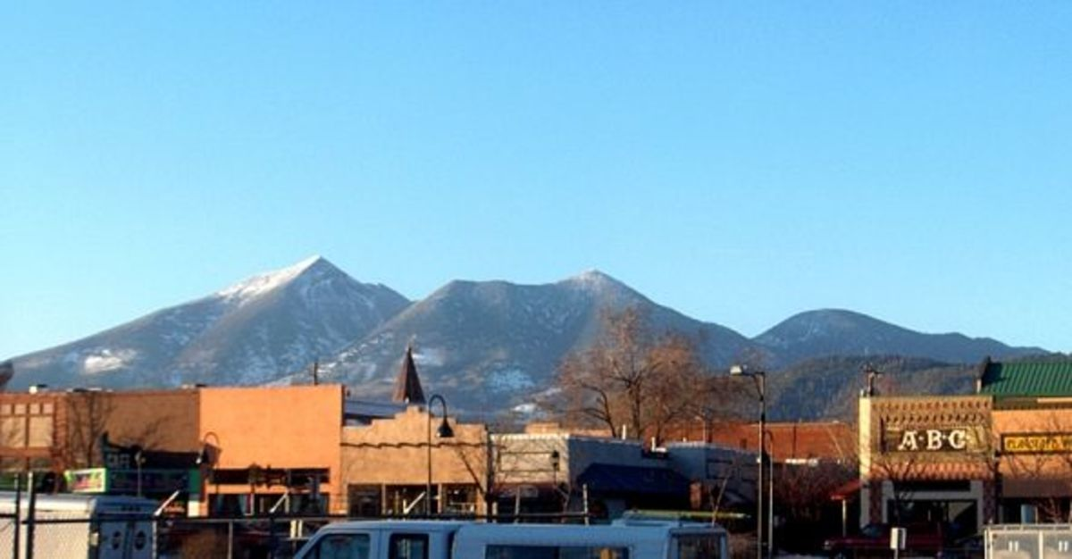 Downtown Flagstaff from Route 66 with the San Francisco Peaks in the background