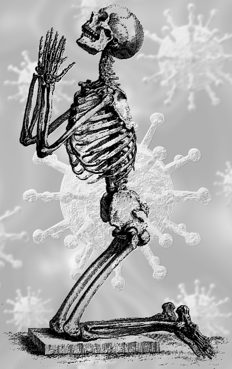 Vintage image of praying skeleton over coronavirus, compiled by Robert G Kernodle