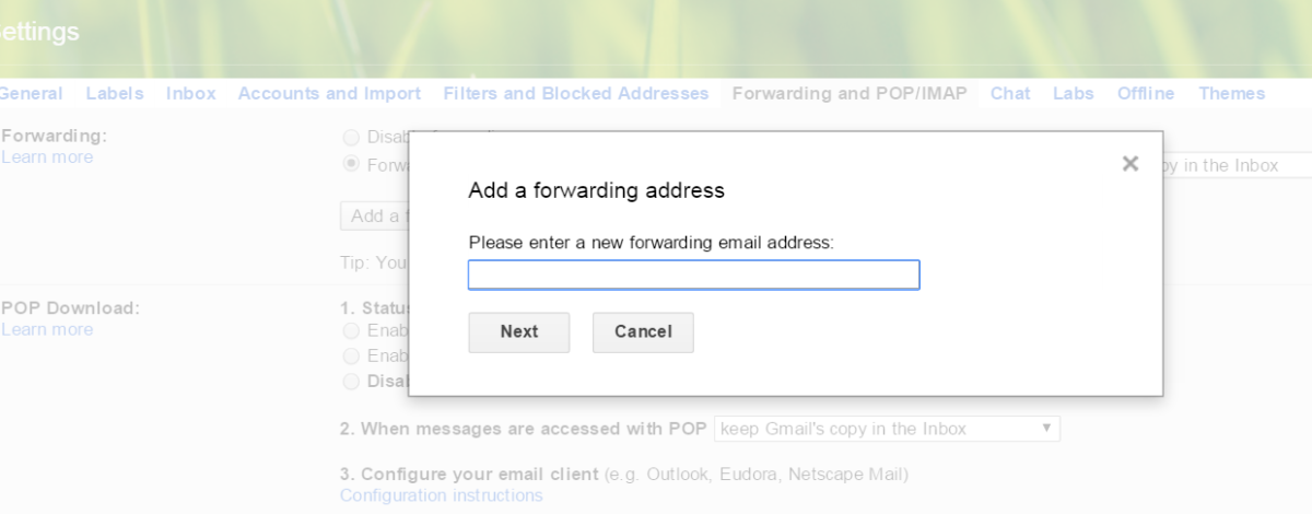 This photo simply shows How to setup pop/imap of your Gmail to forward it to another email account: Settings-Forwarding and POP/IMAP