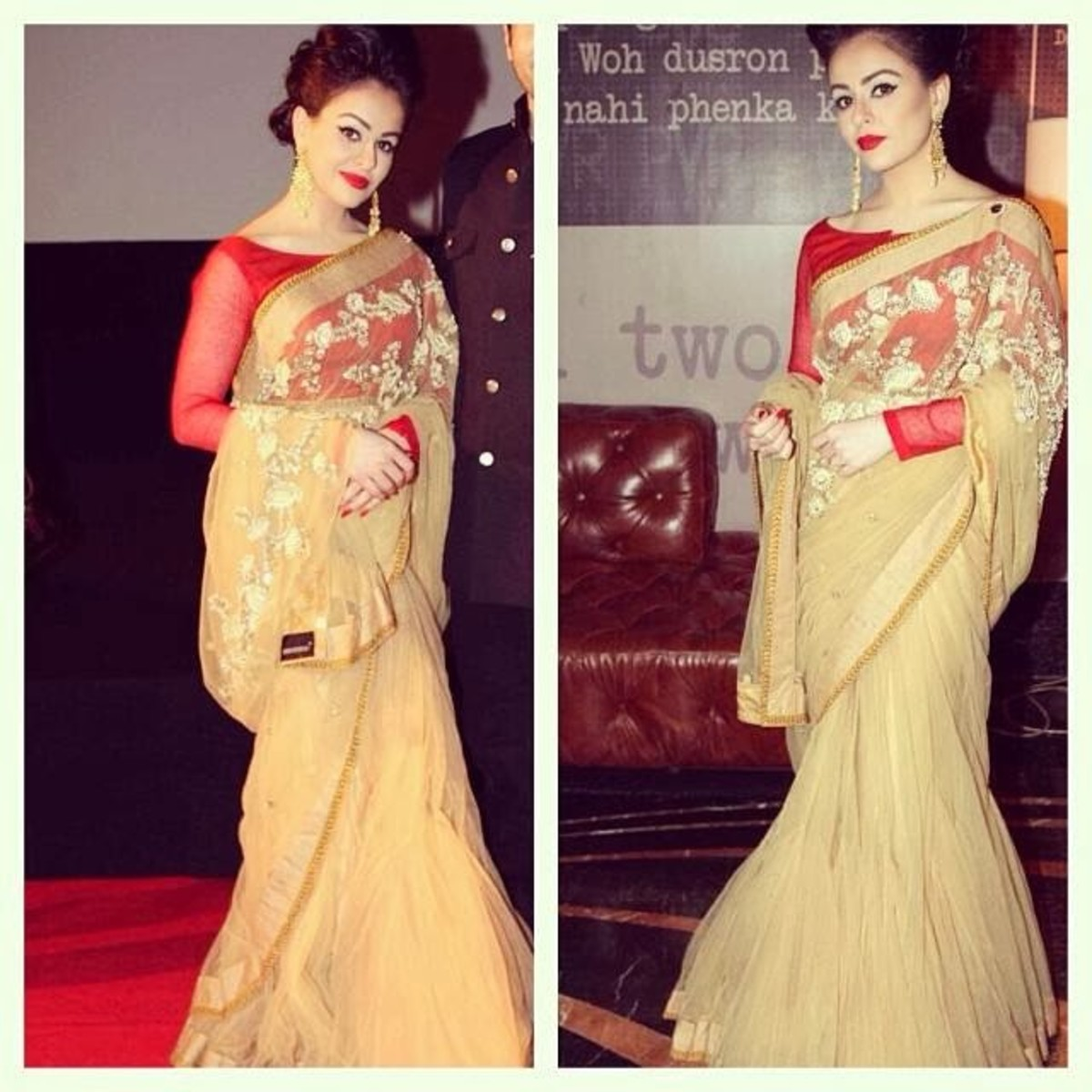 An absolutely gorgeously elegant saree look with red boat necked blouse.