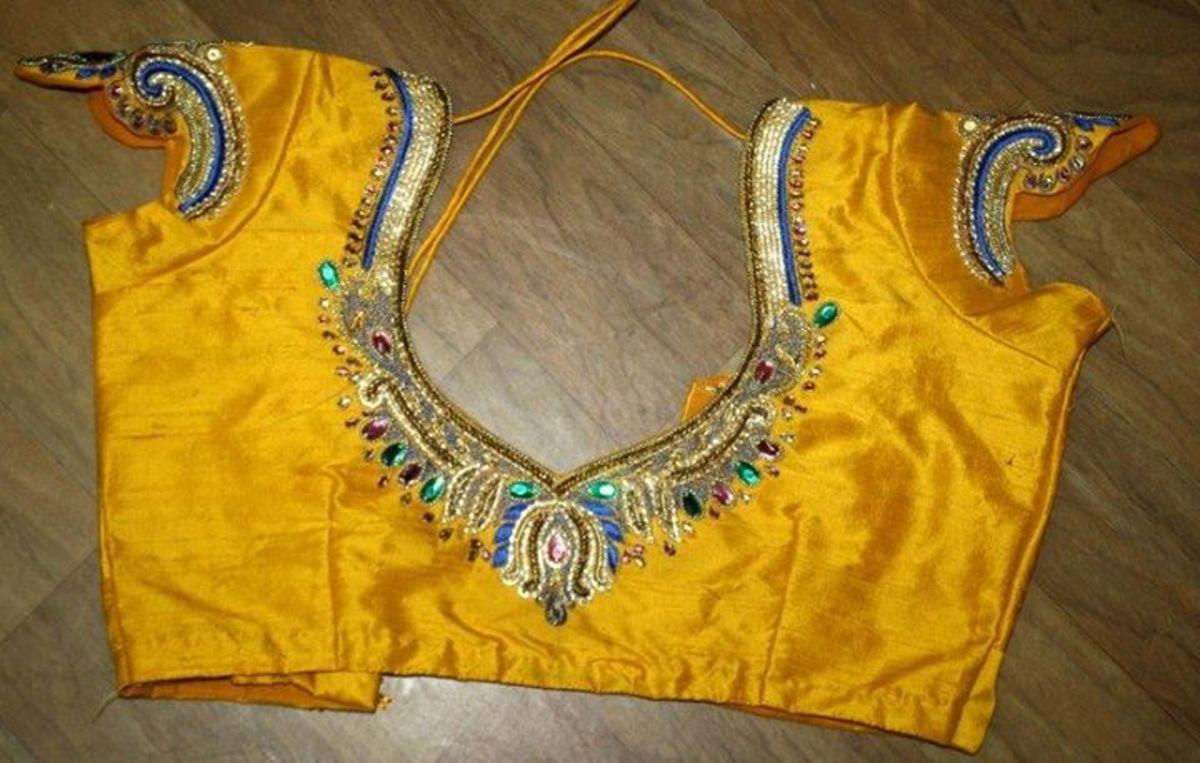 Yellow silk blouse design.